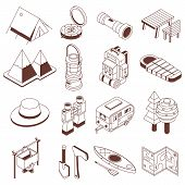 Isometric Camping Icon Set. Hiking Isometry Elements And Equipment Icons. Camp And Adventure Gear. M poster
