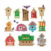 Birdhouse Vector Cartoon Birdbox And Birdie Wooden House Illustration Set Of Birds Singing Birdsongs poster
