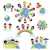 Children World Vector Happy Kids On Planet Earth In Peace And Worldwide Earthly Friendship Illustrat poster
