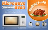 Vector Promotion Banner With Realistic White Microwave Oven And Roast Chicken With Vegetables On Dis poster