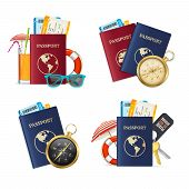 Realistic Detailed 3d Travelling Set Include Of Passport, Compass, Ticket, Sunglasses, Cocktail Drin poster