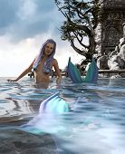 3d Fantasy Mermaid In Mythical Sea,fantasy Fairy Tale Of A Sea Nymph,3d Illustration For Book Cover  poster