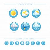 Weather Icons. Weather Emblem. Round Icons With Weather Symbols And Phases Of The Moon. poster