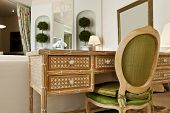 interior luxury apartment, comfortable suit, wooden desk