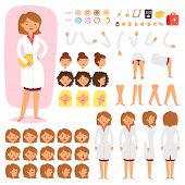 Doctor Constructor Vector Creation Of Female Medical Character Head And Face Emotions Illustration S poster