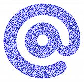 Email Symbol Mosaic Of Circle Dots In Variable Sizes And Color Tones. Round Dots Are Grouped Into Em poster