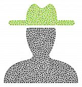 Farmer Collage Of Small Circles In Different Sizes And Color Shades. Small Circles Are Composed Into poster