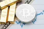 Commodity And Alternative Asset, Gold Bar And Crypto Currency Bitcoin On Rising Price Graph As Finan poster
