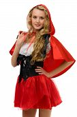 Beautiful woman in carnival costume.   Little Red Riding Hood shape
