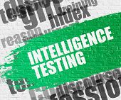 Education Service Concept: Intelligence Testing - On The White Wall With Word Cloud Around. Modern I poster