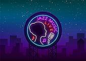 Jazz Music Is A Neon Style Logo. Neon Sign Symbol, Emblem, Light Banner, Luminous Sign. Bright Neon  poster
