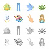 Amulet, Hippie Girl, Freedom Sign, Old Cassette.hippy Set Collection Icons In Cartoon, Monochrome St poster