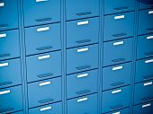 stock photo of file folders  - fine 3d image of blue file cabinet - JPG