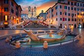 Rome. Cityscape Image Of Spanish Steps In Rome, Italy During Sunrise. poster