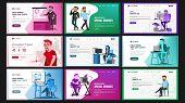Website Design Template Set Vector. Business Project. Financial Management. Landing Page, Web, Site. poster