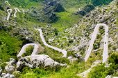 Winding road in mountain near Sacalobra in Mallorca Tramuntana from Spain