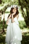 Brunette Bride In Fashion White Wedding Dress With Makeup. Wedding Day Of Bride In Bridal Gown. Beau poster