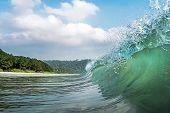 A Big Wave Covers. Radhanagar Beach At Andaman And Nicobar Island, India. View From The Sea. Bursts  poster
