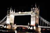 stock photo of beefeater  - London Bridge River View Taken at night time - JPG