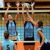KAPOSVAR, HUNGARY - SEPTEMBER 11: Zsanett Pinter (2) in action at the Hungarian NB I. League volleyb