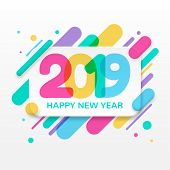 2019 Happy New Year Greeting Card With Abstract Colored Rounded Shapes Lines In Diagonal Rhythm. For poster