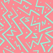Psychedelic Chaotic Pink And Green Zig Zag With Dots Seamless Pattern. Abstract Fashion Trendy Vecto poster