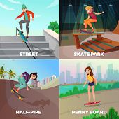Extreme Skateboarding 2x2 Design Concept With Young People Skating On City Streets And Urban Constru poster