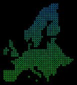 Dotted Gradient European Union Map. Vector Geographic Map In Green And Blue Gradiented Color Shades  poster