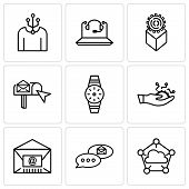 Set Of 9 Simple Editable Icons Such As Cloud Computing, Email Chat, Mail, Development, Smartwatch, E poster