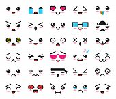 Kawaii Emoticon Vector Cartoon Emotion Character With Face Expression Illustration Emotional Set Of  poster