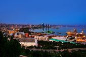 Постер, плакат: Baku Azerbaijan Aerial View Of Baku Azerbaijan At Night Coastline Of The Capital Of Azerbaijan W