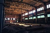 Abandoned Ruined Industrial Factory Building, Corridor View With Perspective, Ruins And Demolition C poster