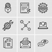 Set Of 9 Simple Editable Icons Such As Email Chat, Email, Mail, Call Center, Network, Settings, Bina poster