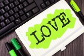 Handwriting Text Writing Love. Concept Meaning Intense Feeling Deep Affection Romantic Sexual Attach poster
