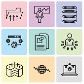 Set Of 9 Simple Editable Icons Such As Laptop Analysis, Global Heart Beat, Folder Connected Circuit, poster