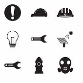 Set Of 9 Simple Editable Icons Such As Respirator, Fire Hydrant, Pipe Wrench, Solar Battery, Adjusta poster
