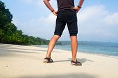 Man Relaxing On Exotic Beach In Seychelles Islands. Man Walking On Beautiful Exotic Beach From Seych poster