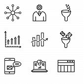 Set Of 9 Simple Editable Icons Such As Table For Data, Laptop Data Analytics On Screen With Circles, poster