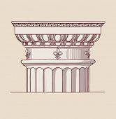 Chapiter- hand draw sketch doric architectural order based