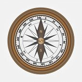 Realistic Compass Made Of Wood. Vector Wooden Round Compass. poster