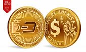 Dash. Dollar Coin. 3d Isometric Physical Coins. Digital Currency. Cryptocurrency. Golden Coins With  poster