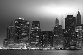 Lower Manhattan Skyline and the Tribute in Lights Towers at Night, New York City