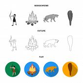Man, Hunter, Onion, Bonfire .stone Age Set Collection Icons In Flat, Outline, Monochrome Style Vecto poster