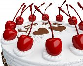 St Valentines Day: Cake With Cherries Isolated