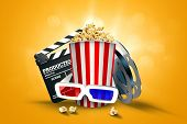 Online Movies, Cinemas, An Image Of Popcorn, 3D Glasses, A Movie Film And A Blackboard On A Yellow B poster