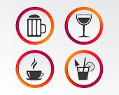 Drinks Icons. Coffee Cup And Glass Of Beer Symbols. Wine Glass And Cocktail Signs. Infographic Desig poster