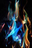 abstrakt blau und orange Flammen