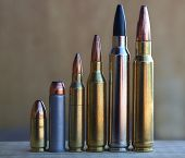 Pistol And Rifle Bullets Increasing In Size