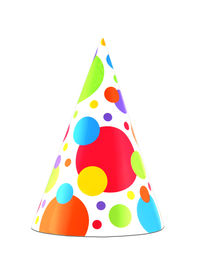 image of birthday hat  - Colorful party hat isolated on white background - JPG