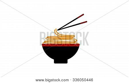 poster of Noodle Food, Noodle Bowl Logo Vector Illustration